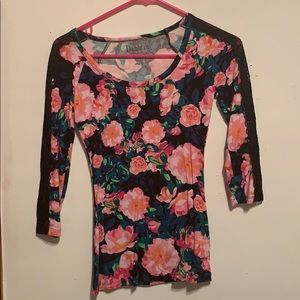 3/4 sleeve stretchy fitted blouse